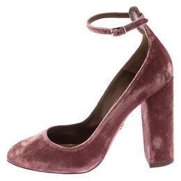 Aquazzura Pink Velvet Alix Ankle Strap Block Heel Pumps Size 39.5