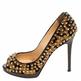 Christian Louboutin Leopard Print Calfhair Yolanda Spikes Peep Toe Pumps Size 36