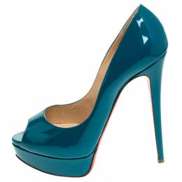 Christian Louboutin Green Patent Leather Lady Peep Pumps Size 40