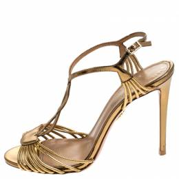 Aquazurra Metallic Gold Leather Josephine Ankle Strap Sandals Size 38 Aquazzura 241977