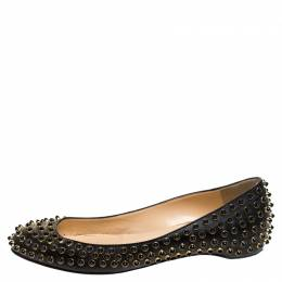 Christian Louboutin Black Leather Studded Ballet Flats Size 38.5 241972