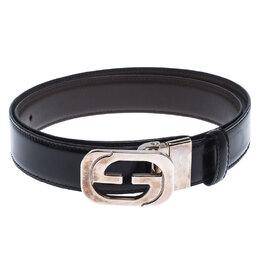 Gucci Black Leather Square G Reversible Belt Size 85CM 242804