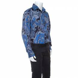 Etro Blue Paisley Print Cotton Shirt 4XL