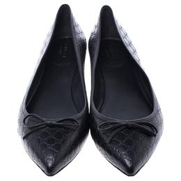 Gucci Black Microguccissima Leather Agatha Ballet Flats Size 40.5 242823