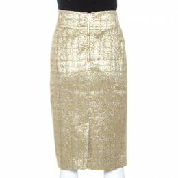 Burberry Metallic Jacquard Lame Pencil Skirt L 242191