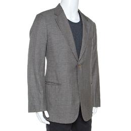 Armani Collezioni Grey Houndstooth Wool and Linen Blend Blazer XXL 242178