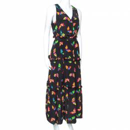 Boutique Moschino Black Butterfly Printed Silk Dress L 241829
