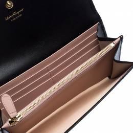Salvatore Ferragamo Black Leather Gancini Flap Wallet