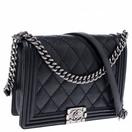 Chanel Black Quilted Leather New Medium Boy Flap Bag 238448