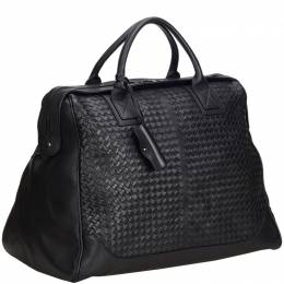 Bottega Veneta Black Intrecciato Leather Weekender Bag 214981