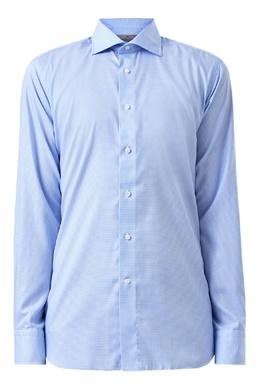 Голубая рубашка с мелким узором Canali 1793162374