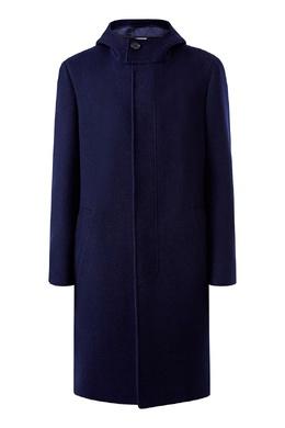 Синее пальто с капюшоном Canali 1793162319