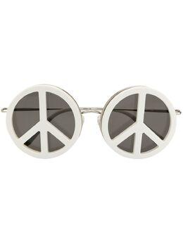 Linda Farrow круглые солнцезащитные очки с символом 'пацифик' YAZ8C1SUN