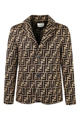 Коричневый трикотажный пиджак с карманами Fendi Kids 690164206