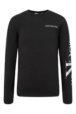 Черный джемпер с серебристыми надписями Calvin Klein Kids 2815164156