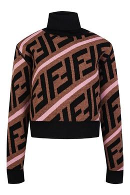 Шерстяной свитер кофейного цвета с декором Fendi Kids 690163887