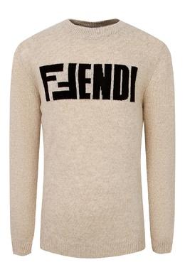 Шерстяной бежевый свитер Fendi Kids 690163889