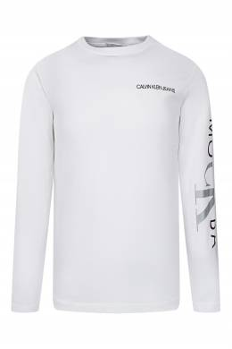 Белый лонгслив с фирменными надписями на груди и рукаве Calvin Klein Kids 2815164159