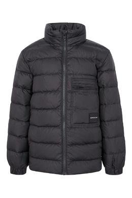 Серая удлиненная куртка с надписью на спине Calvin Klein Kids 2815164003