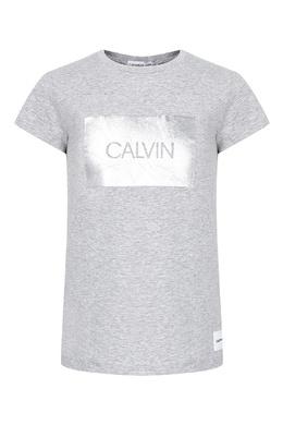Серая футболка с серебристым декором Calvin Klein Kids 2815164042