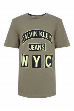 Серо-зеленая футболка с декором Calvin Klein Kids 2815164047