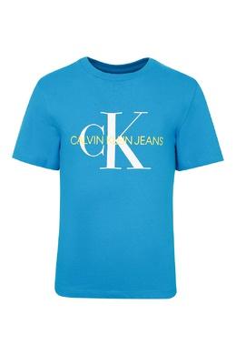 Голубая футболка с бело-желтой надписью Calvin Klein Kids 2815164045