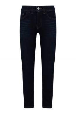 Темно-синие джинсы с декоративной строчкой и кожаной нашивкой Calvin Klein Kids 2815164108