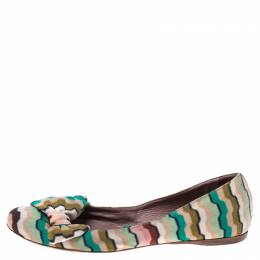 Missoni Multicolor Knitted Fabric Bow Ballet Flats Size 37 242961