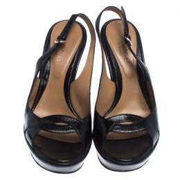 Sergio Rossi Black Patent Leather Wedge Platform Ankle Strap Sandals Size 38 242559