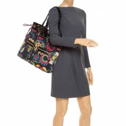 Etro Multicolor Floral Print Canvas and Patent Leather Tote 240367