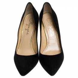 Charlotte Olympia Black Suede Liz Pointed Toe Pumps Size 39.5 242741