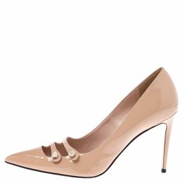 Gucci Beige Patent Leather Aneta Double Strap Pointed Toe Pumps Size 38.5