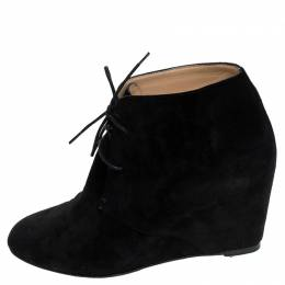 Christian Louboutin Black Suede Ankle Booties Size 38 242770