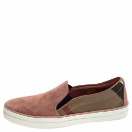 Burberry Multicolor Suede And Canvas Gauden Slip On Sneakers Size 36 242794