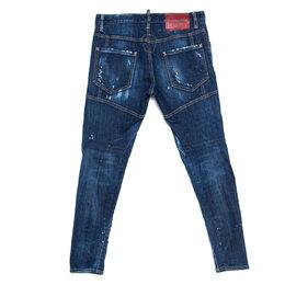 Dsquared2 Blue Distressed Denim Paint Splatter Detail Tidy Biker Jeans XS 238541