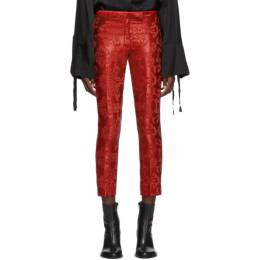 Ann Demeulemeester Red Pattern Trousers 1902-1424-178-039