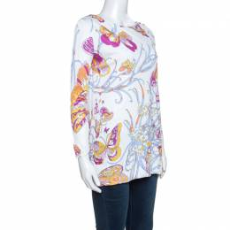 Emilio Pucci White Butterfly Print Knit Tunic Top M 241693