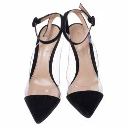 Gianvito Rossi Black Suede and PVC Ankle Strap Pointed Toe Sandals Size 37.5 242955
