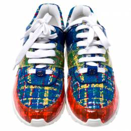Chanel Multicolor Tweed Fabric And PVC Lace Up Sneakers Size 40 243145