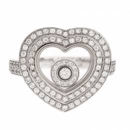 Chopard Diamond Paved 18K White Gold Heart Ring Size 52