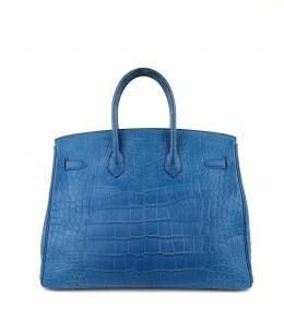 Hermes Mykonos Blue Matte Alligator Palladium Hardware Birkin 35 Bag 243845