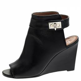 Givenchy Black Leather Shark Lock Wedge Ankle Strap Sandals Size 39