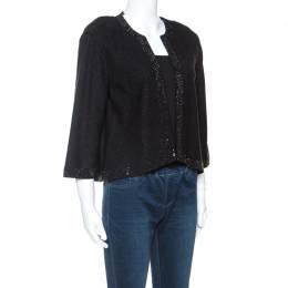 St. John Black Knit Crystal Embellished Cardigan M