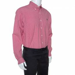 Ralph Lauren Red Checked Cotton Button Front Shirt L 241509