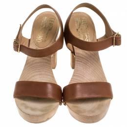 Salvatore Ferragamo Brown Leather Ganga Clog Block Heel Sandals Size 38.5 243032