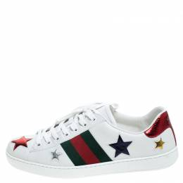 Gucci White Leather Ace Metallic Stars Low Top Sneakers Size 41 243752