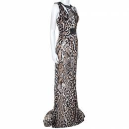 Just Cavalli Beige Leopard Print Sleeveless Maxi Dress L 242370