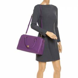MCM Purple Textured Leather Tote 240391