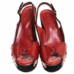 Sergio Rossi Red/Black Patent Leather And Suede Slingback Platform Sandals Size 39 242797