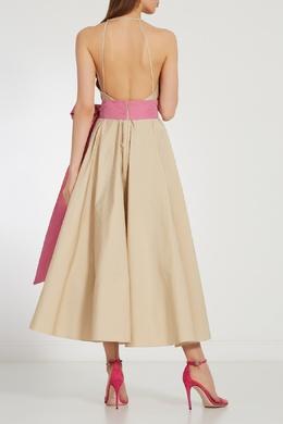 Бежевое платье с розовым поясом No. 21 35118216